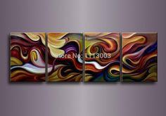set grande linea moderna astratta colorata pittura di arte della parete su tela di canapa casa galleria di opere