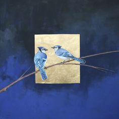 """Nocturne Blues"" by Ellen Welch Granter. Oil and Metal Leaf on Canvas. 30"" X 30"". Available at www.maine-art.com."