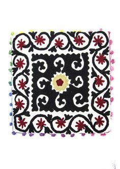 Suzani embroidered white and black square cushion cover by SoulMakes