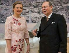 Hereditary Grand Duchess Stephanie & Grand Duke Jean Of Luxembourg At The MUDAM Museum, June 17,  2016.