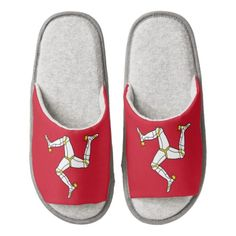 Manx flag slippers pair of open toe slippers