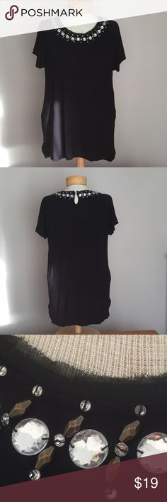 """Lord & Taylor black bejeweled top. Size Large. Like new  Lord & Taylor black Faux clear and gold bejeweled top. Size Large. 26"""". Rayon Lord & Taylor Tops"""