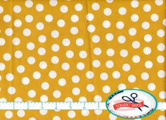 100% Cotton Quilting Fabric by the yard - MUSTARD YELLOW DOT Fabric Fat Quarter White on Yellow Polka Dot Fabric Yardage Woven Cotton a4-18