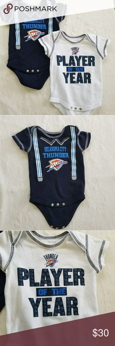 OKC Thunder Onesies  NWOT- Never worn! Both are 100% Cotton  Offers/Bundle offers are accepted   Check out my other baby items to bundle and save      Sorry, no trades  Suggested User / 160+ Items Sold / Posh Party Host NBA One Pieces Bodysuits