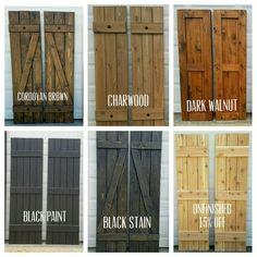 """Wood Shutters, Rustic exterior cedar shutters- """"Board and batten"""" – Exterior Farmhouse Shutters, Cedar Shutters, Diy Shutters, Wooden Shutters Exterior, Outdoor Shutters, White Shutters, Rustic Shutters, Homemade Shutters, Wooden Window Shutters"""