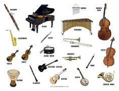 Musical Instruments- printable images of musical instrument families Oboe, Trombone, Instruments Of The Orchestra, Indian Musical Instruments, Homemade Instruments, Music Worksheets, Preschool Music, Music And Movement, Piano Teaching