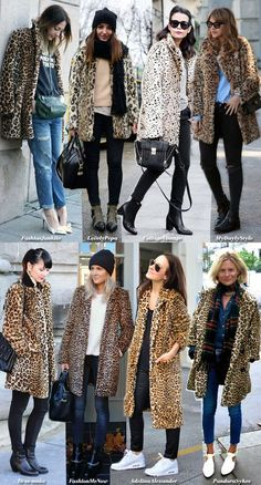 How to wear your Leo Fur (Blue is in Fashion this Year) Outfits La Veste Léopard! Leopard Print Outfits, Leopard Print Jacket, Animal Print Outfits, Leopard Print Coat, Leopard Fashion, Animal Print Fashion, Leopard Cardigan Outfit, Leopard Clothes, Animal Prints