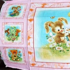 "Best Friends Fabric Panel Quilt Block 6""x6"" Rabbit Bear Pink Cotton Material New"