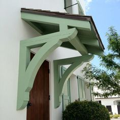 Front door overhang, Roof brackets and Front doors on . Store Veranda, Porch Roof Design, Front Door Overhang, Porch Awning, Pergola Roof, Pergola Kits, Roof Brackets, Porch Addition, Door Images