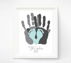 Gift for New Dad - First Fathers Day Gift - Baby Footprint and Hand Print Art Print - Personalized Family Portrait - Baby Footprint Art