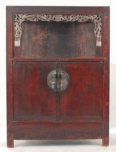 Antique asian furniture red lacquered cabinet armoire for Mobilier chinois ancien