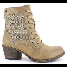 Roxy Tan Bootie Stylish Combat Boot by Roxy®:  faux leather upper in a combat boot style rounded-toe construction easy slip-on style with a lace-up front stitching accents distressed look traction outsole 2-inch heel Roxy Shoes Ankle Boots & Booties