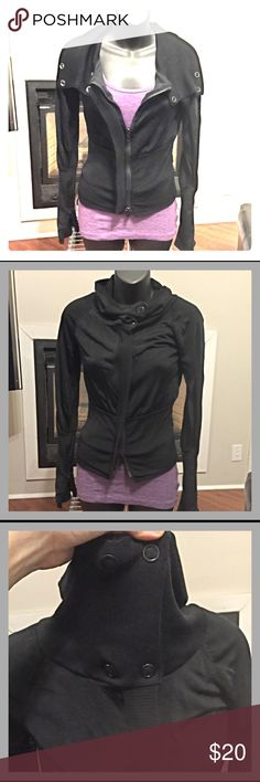 Armani Exchange L/S Zip Up I'm sad to part with this, but it has become too small for me 😞.  Very cute, comfy, and versatile.  With the double zip and the snaps at the collar, this top can be worn a couple of different ways.  It is in really good condition overall, although there is some pilling on the sleeve cuffs.  Body is 100% rayon, lining is 100% cotton. Armani Exchange Tops