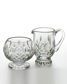 Lismore, the most popular pattern, is named for a prominent town in County Waterford, Ireland. Introduced in 1952, and created by designer Miroslav Havel. Set includes (shown left to right) sugar and
