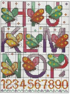 Cross-stitch butterfly alphabet, part 2.. color chart on part 4