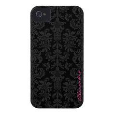 Black  Dark Gray Vintage Floral Damasks iPhone 4 Cases