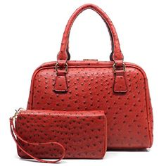 Ostrich Frame Doctors Satchel Handbag  Zip Around Wallet Set Red * Visit the image link more details.