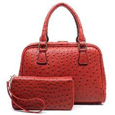 Ostrich Frame Doctors Satchel Handbag  Zip Around Wallet Set Red * Visit the image link more details.