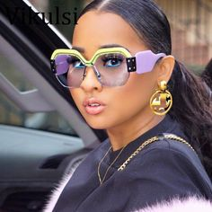 2019 New Sexy Rimless Stylish Oversized Sunglasses Women Vintage Luxury Sun Glasses For Female Rivet Big Frame Oculos De Sol Oversized Sunglasses, Mirrored Sunglasses, Sunglasses Women, Vintage Sunglasses, Sunglasses For Your Face Shape, Ray Bans, Fashion Eye Glasses, Glasses Frames, Fake Glasses