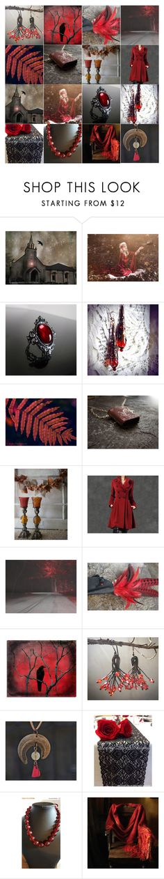 """Red October"" by andreadawn1 ❤ liked on Polyvore featuring WALL, Vision, red, etsy, handmadegifts and Treasury"