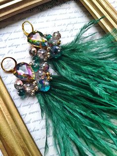 95fc84b717c9 Glamorous Green Ostrich Feather Earrings