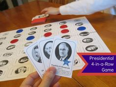 The first player to get four of their own game pieces on the game board in a row (horizontally or vertically) wins. - Relentlessly Fun, Deceptively Educational: Presidential 4-in-a-Row Board Game