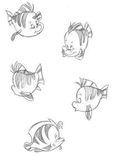 Ideas Drawing Animals Cute Disney The Little Mermaid Animation Sketches, Cartoon Sketches, Disney Sketches, Animal Sketches, Disney Drawings, Animal Drawings, Cartoon Art, Art Drawings, Drawing Sketches