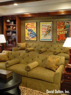 Designer David Dalton featured Island Raffia 1745 Positano in media room of residence.