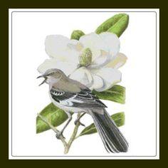 Mississippi Northern Mockingbird and Magnolia Flower Cross Stitch