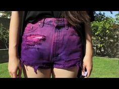 DIY Dip Dyed Distressed Ombre Shorts