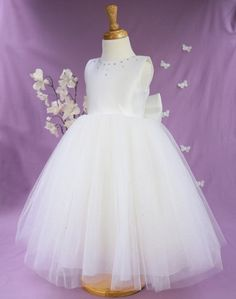 Busy B's Bridals Exclusive 'Lizzy' Sparkle Flower Girl & First Communion Dress | Posh Tots Online