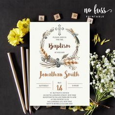 Watercolor Boho Feather Baptism Invitation by NoFussPrintable Baptism Invitation For Boys, Christening Invitations Boy, Wedding Invitations, Baptism Party, Boy Baptism, Baptism Ideas, Baptism Outfit, Baptism Decorations, Birth Announcement Boy