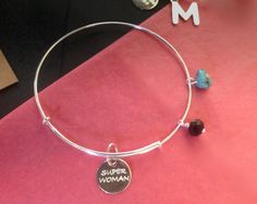 """BRACELET """" personalized"""" in sterling silver : """"message """" with black crystal and turquoise natural de Crystallites en Etsy Black Crystals, Alex And Ani Charms, Turquoise, Messages, Etsy, Sterling Silver, Natural, Bracelets, Crafts"""
