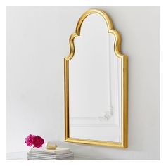PB Teen Arch Mirror, Gold ($189) ❤ liked on Polyvore featuring home, home decor, mirrors, gold mirror, gold home accessories, gold leaf mirror, gold home decor and gold leaf home decor