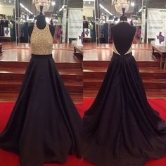 Halter Ball Gown Beading Long Prom Dress,Evening Dress,Charming Prom Dresses,BG97