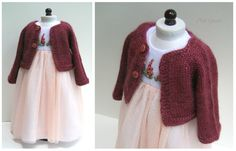 """Baby alpaca and silk cardigan, designed to complement her special dress. Made to fit an 18"""" doll."""