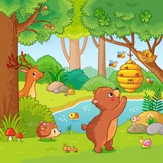Buy Vector Illustration with a Bear Who Wants Honey by svaga on GraphicRiver. Vector illustration with a bear who wants honey. Picture in the children s cartoon style. Art Drawings For Kids, Drawing For Kids, Painting For Kids, Cartoon Drawings, Easy Drawings, Animal Drawings, Art For Kids, Safari Decorations, School Painting