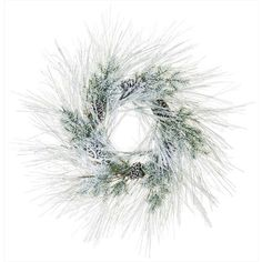 Allstate Snow Pine Wreath (135 NZD) ❤ liked on Polyvore featuring home, home decor, flowers, rustic wreath, rustic home decor, pinecone wreath, branch wreath and door wreaths