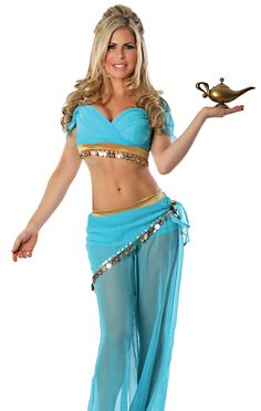 Belly Dance Top Wave Harem Pant Outfit Halloween Carnival Festival Fancy Costume