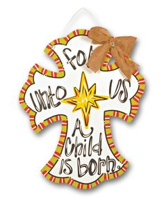 Look at this 'For Unto Us' Door Hanger on #zulily today!