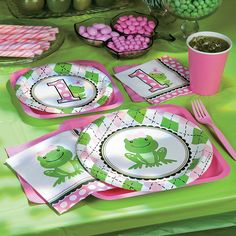 Preppy Frog Pink 1st Birthday Party Supplies - OrientalTrading.com