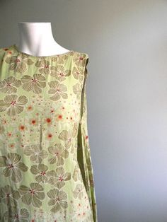 vintage. Light Green Floral Print Maxi Rayon Dress by styleforlife, $42.25