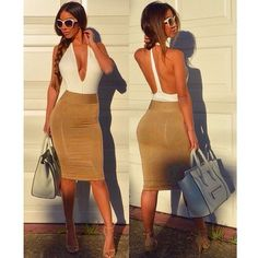 Deep V-neck Backless Sheath Bodycon Knee Length Dress. - Total Street Style Looks And Fashion Outfit Ideas Sexy Dresses, Sexy Backless Dress, Casual Summer Dresses, Club Dresses, Fashion Dresses, Bodycon Dress, Bandage Dresses, Cheap Dresses, Fashion Styles