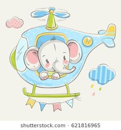 Cute little elephant on a helicopter cartoon hand drawn vector illustration. Can be used for baby t-shirt print, fashion print design, kids wear, baby shower celebration greeting and invitation card. Little Elephant, Elephant Love, Fashion Show Invitation, Illustrator, Baby Shower Invitation Cards, Little Twin Stars, Portfolio, Baby Design, Cute Illustration