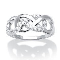 .20 TCW Cubic Zirconia Double Infinity Ring in Sterling Silver at PalmBeach