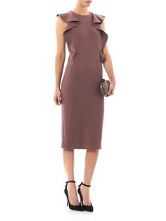 Bottega Veneta Ruffle sleeve crepe wool dress