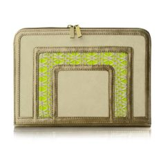 Frame Clutch - Gold, White Crochet and Neon Yellow