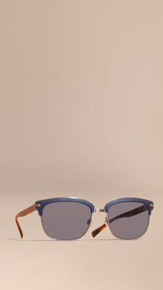 fccc46d454b1 Textured Front Square Frame Sunglasses Dark Navy