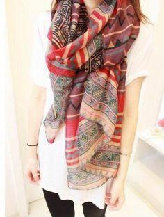 Bohemian Style Wave and Stripe Pattern Design Women's Scarf (RED) | Sammydress.com