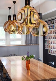 Octo Pendant lights from Secto in a natural dining room